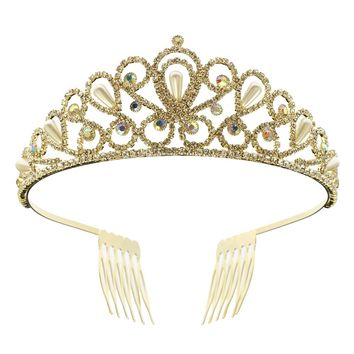 DK FASHION Princess Pearl Crystal Girls Hair Tiara Crown Mini Hair Combs hair jewelry