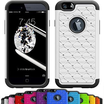 GIRLY iPhone 6s / 6 (4.7 Inch) Crystal Studded Defender Cases by VALLT, Hybrid Dual Layer Rhinestone Bling Protective Case Cover for Apple I Phone - Lifetime Guarantee (Snow White)