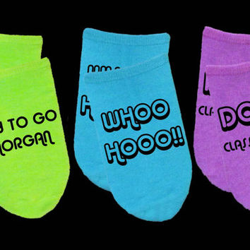 Personalized Graduation Gift Idea - Custom Neon Graduation Socks - Class of 2015 - Set of 3 - Lime Purple Blue