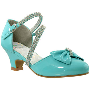 Kids Dress Shoes Rhinestone Bow Accent Kitten Heel Sandals Blue
