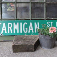 Vintage Metal St. Sign  Enamel Street Sign PTARMIGAN ST NW 2400 Industrial Decor Trendy Ptarmigan St. Nw 2400 Metal Sign