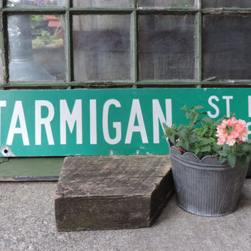 Vintage Street Sign  Enamel Street Sign PTARMIGAN ST NW 2400 Wall Hanging Industrial Decor Trendy Ptarmigan St. Nw 2400 Signage