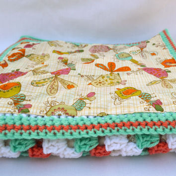 Coral reef crochet baby blanket, granny square reversible crochet baby blanket