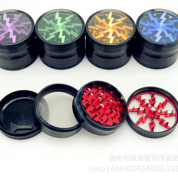 Herb Grinders - Lightening Design - 4 Parts - 63MM