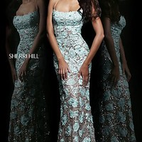 Long Lace Open Back Gown by Sherri Hill