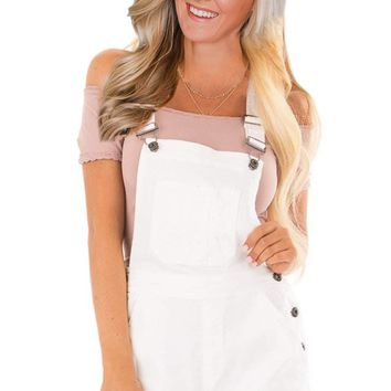 White Denim Stretch Cotton Short Overalls