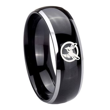 8MM Glossy Black Dome Honey Bee 2 Tone Tungsten Laser Engraved Ring