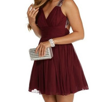 Burgundy V Neck Backless Chiffon Short Homecoming Dress