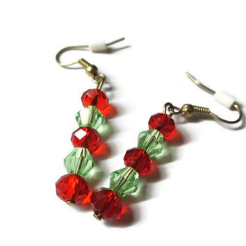 Christmas Crystal Earrings, Red and Green, Glass and Swarovski Crystal, Dangle Style, Nickel Free Bronze French Ear Wires