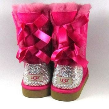 ICIK8X2 Hot Pink Ugg Bailey Bows with Swarovski Crystal Embellishment Adult Sizes - Winter/Hol