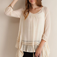 Ruffled Hem Tunic - Natural