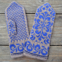 Beige Mittens with Flowers - Baroque Mittens - Winter Accesories - Gift Ideas - Fashion Mittens - Boho Gloves 77.