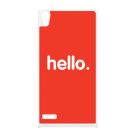 Hello White Silicon Rubber Case for Huawei P6 by textGuy