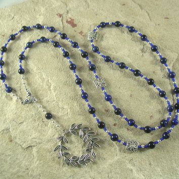 Apollo Prayer Bead Necklace in Blue Tiger Eye: Greek God of Music and the Arts, Health and Healing