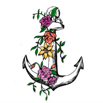 Flower Anchor Tattoo Set