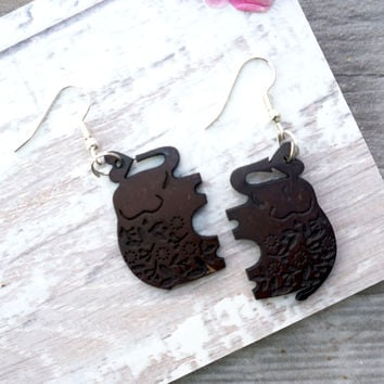Coconut Elephant Earrings