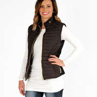 Black Zip Up Quilted Vest