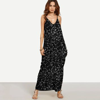 d649ef818adc8 Fashion Casual Star Irregular Print V-Neck Backless Sleeveless Strap Maxi  Dress
