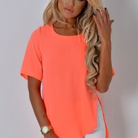Margarita Neon Coral Drop Hem Top | Pink Boutique