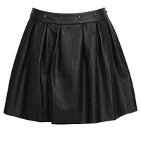 Mai Stud Waist PU Box Pleat Skater Skirt