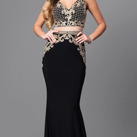 Long Mock Two-Piece Prom Dress with Lace Applique