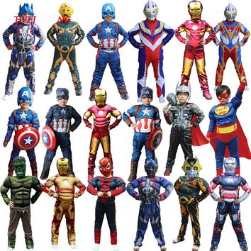 Christmas Boys Muscle Super Hero Captain America Costume SpiderMan Hulk Batman Avengers Costumes Cosplay for Kids Boy