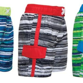 Toddler Boy's Swim Trunks with Side Pocket - Striped Prints - Sizes 2-4T - CASE OF 18
