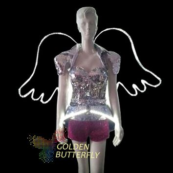 LED Clothing Glowing Angel Wing Bra Shorts Alice Shoulder Armor Suits