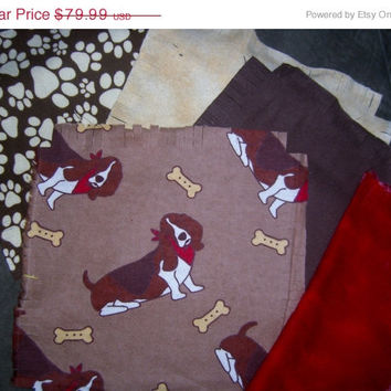 """Basset Hound rag quilt kit fringed die cut fabric squares cotton flannel material batting ready to sew 45.5""""x58.5 Bassett dog"""