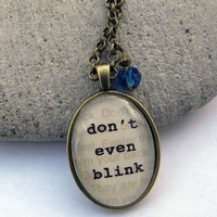 Necklace -  Doctor Who - DON t    Even   BLINK  -  Necklace with Tardis Blue Bead