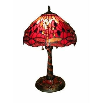 Tiffany Style Red Dragonfly Lamp w/ Mosaic Base