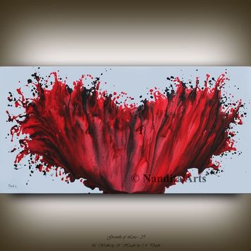 "Painting, 48"" Red Painting Wall Art Home Decor Modern Painting Large Fine Art, Office Wall Hanging, Contemporary Canvas Art Painting Nandita"