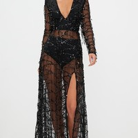 Valentina Black Sequin Long Sleeve Maxi Dress