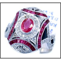Art Deco Style 18K White Gold Diamond Accents Onyx Ruby Ring [RA0008]