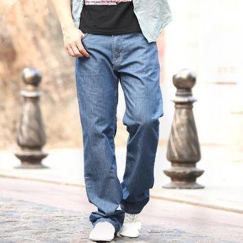 Cotton Jeans Man Middle-aged Denim Jeans Casual Middle Waist Loose Long Pants Male Solid Straight Jeans For Men large size 48