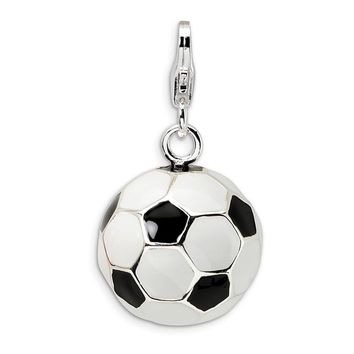 925 Sterling Silver 3-D Enamel Soccer Ball with Lobster Clasp Charm