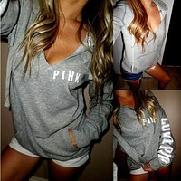 """Pink"" Victoria's Secret  Casual Letter Print V-Neck Pullover Top Sweatshirt"