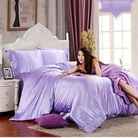HOT100% pure satin polyster silk summer bedding set Home Textile King  bedclothes,duvet cover flat sheet pillowcases