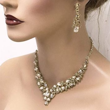 20c794c1d V Shape Bridal Jewelry Set, Bridal Necklace Earrings, Prom Jewel
