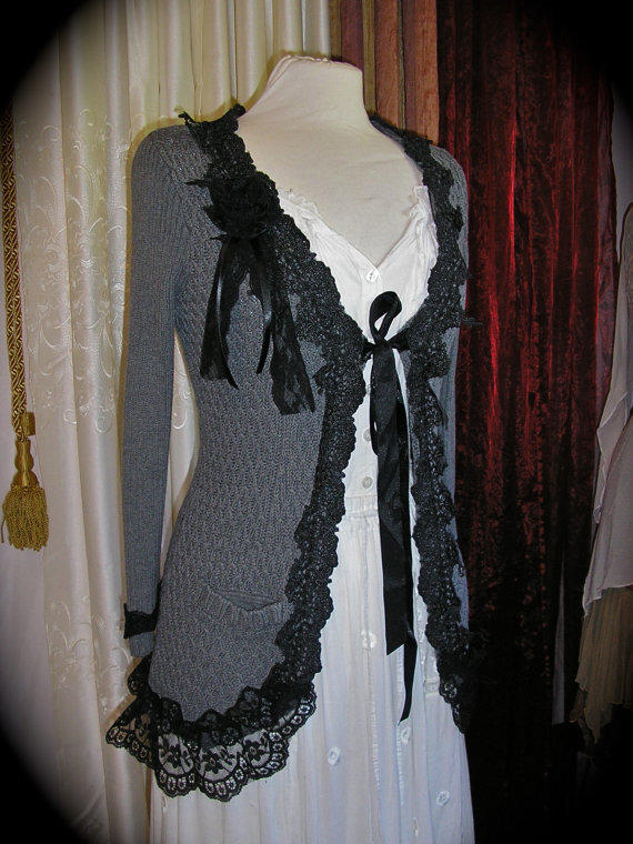 Gray Bohemian Sweater Coat Black Lace From Grandmadede On