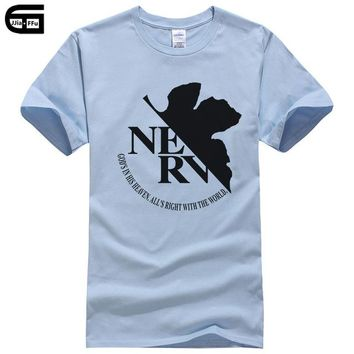 Anime T-shirt graphics Anime Cartoon EVA Neon Genesis Evangelion NERV cotton Mans clothing Men T Shirt Manga Tshirt casual t-shirt tee T164 AT_56_4