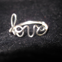 Silver Love Ring Wire Wrapped Unique Gifts - Rings