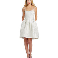 Vera Wang Metallic Brocade Fit-and-Flare Dress - Ivory/Silver