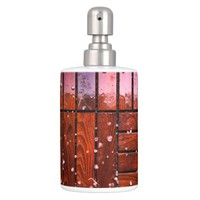 Cool Brown Wooden Ply texture With Wintry Snow Ice Bath Set
