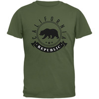 California Republic Banner Military Green Adult T-Shirt