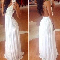 White Lace Backless Maxi Dress