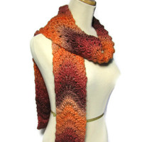 Apricots and Brandy Hand Knit Scarf - Orange, Burgundy, Brown