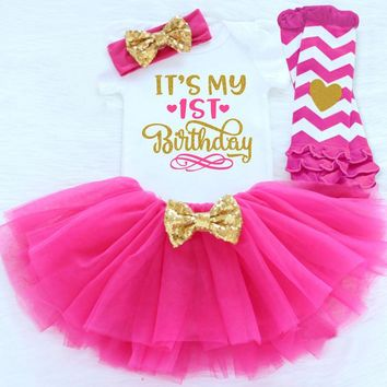 Summer Baby Girl Clothing Sets Gold Sequins Tutu 1st Baby Birthday Sets Kids Costume For Girls Bebes