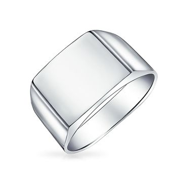 Simple Mens Wide Engravable Square Signet Ring 925 Sterling Silver