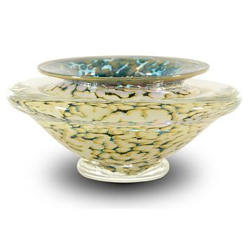 Small Ikebana Flower Bowl - Hand Blown Glass Sculpture by GartnerBlade Glass